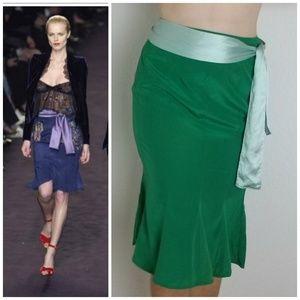 YSL Emerald Green Silk Pencil Skirt w/ Waist Sash